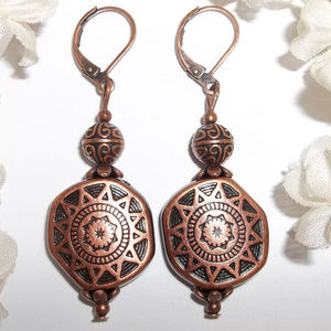 Earrings Copper Boho Bohemian Beaded Dangle 4842